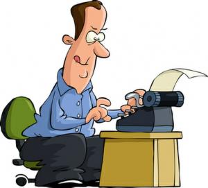 cartoon writer right facing